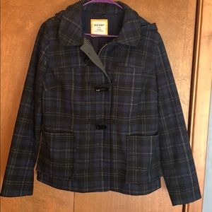 EUC Women's wool blend blue plaid jacket- size L